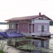 Berth house on the Volga river — Stock Photo
