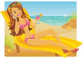 женщина расслабляющий на пляже — Cтоковый вектор