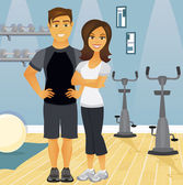Workout partners in gym — Stock Vector