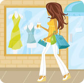 Woman window shopping — Stock Vector