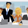 Vector Meeting Scene with cartoon business — Stockvectorbeeld