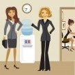 Cartoon Business Women at the Watercooler — Stockvectorbeeld