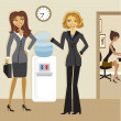 Cartoon Business Women at the Watercooler - Stockvectorbeeld