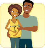 Cartoon image of Happy Pregnant Couple — Stock Vector