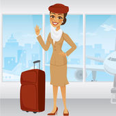 Cartoon Middle Eastern Flight Attendant — Stock Vector