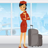 Pretty Asian Flight Attendant in airport — Stock Vector