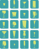 Vector Drink Glass Icons — Stock Vector
