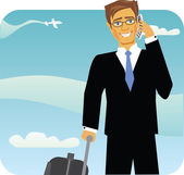 Cartoon image of a traveling business man — Stock Vector