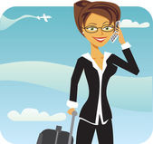 Business Woman talking on phone in airport — Stock Vector