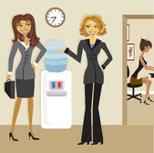 Cartoon Business Women at the Watercooler — Stock Vector