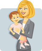 Cartoon Mother in Business Suit Holding Baby — Stock Vector