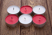 Red and white candles — Stock Photo