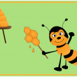 Bee and lollipop — Stock Photo