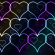 Dark background and shining hearts — Imagen vectorial