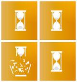 Four different sandglasses — Stock Vector