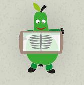 Funny illustration - pear and rentgen — Stock Vector