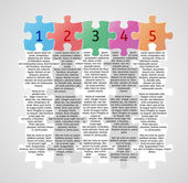 Infographics - five steps with puzzle pieces — Stock Vector