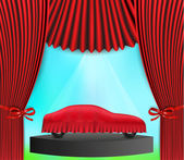 Hidden car and red curtain — Stock Vector