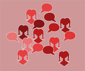 Red silhouette speak bubble — Stock Vector