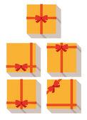 Ploché styl, zabalený dárek nebo dárkové karty — Stock vektor