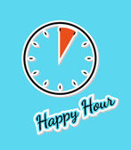 Blue happy hour background with clock — Stock Vector