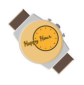 Happy hour background with watch — Stock Vector