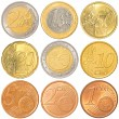 Euro coins collection set — Stock Photo