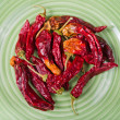 Chilly peppers on the  plate — Stock Photo