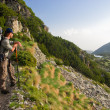 Stock Photo: Hiker in mountains