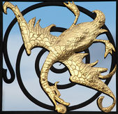 Golden dragon sculpture — Stock Photo