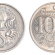 5 and 10 australian cents coins - Stock Photo