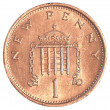 Stock Photo: 1 british pennies coin