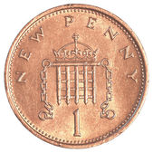 1 british pennies coin — Stock Photo