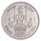 Jeden starý britský šilink mince — Stock fotografie