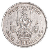 One old british shilling coin — Stock Photo