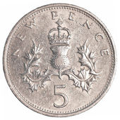 5 british pennies coin — Stock Photo