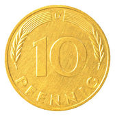 10 german mark pfennig coin — Foto Stock