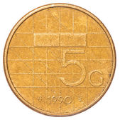 Five dutch Guilder coin — 图库照片