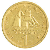 One old Greek Drachma coin — 图库照片