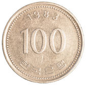 100 jihokorejský wons mince — Stock fotografie