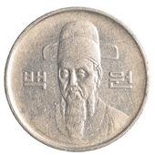 монета 100 wons южной кореи — Стоковое фото