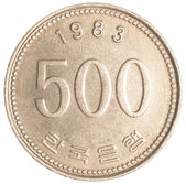 500 south korean wons coin — Stock Photo