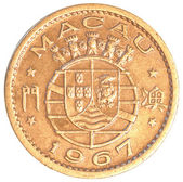 Old 10 Macanese Avos coin — Foto Stock