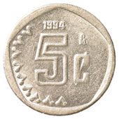 5 mexican peso cents coin — Stock Photo