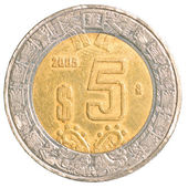 Five mexiacn pesos coin — Stock Photo