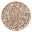 Stock Photo: 10 Swiss Rappen coin