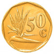 Stock Photo: 50 south africrand cents coin