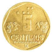 монета 5 сентимо перуанской нуэво соль — Стоковое фото