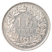1 Swiss Francs coin — 图库照片
