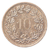 10 Swiss Rappen coin — Stock Photo